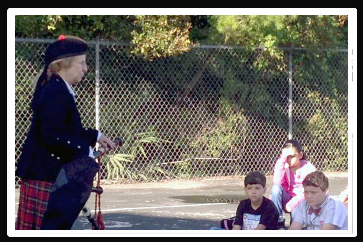 Pat Teaches About The Bagpipes At Sunrise Elementary